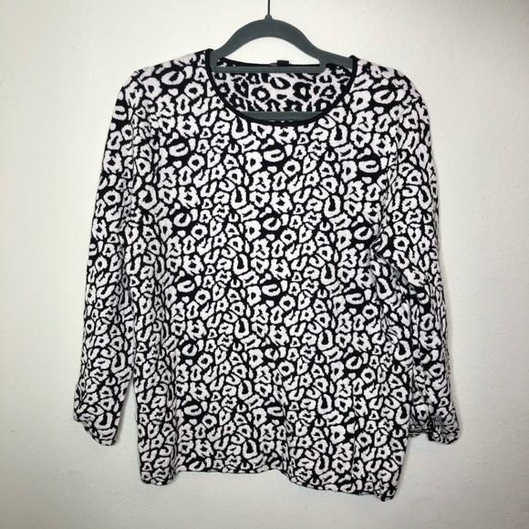 Ann Taylor Animal Print Luxe Sweater Medium